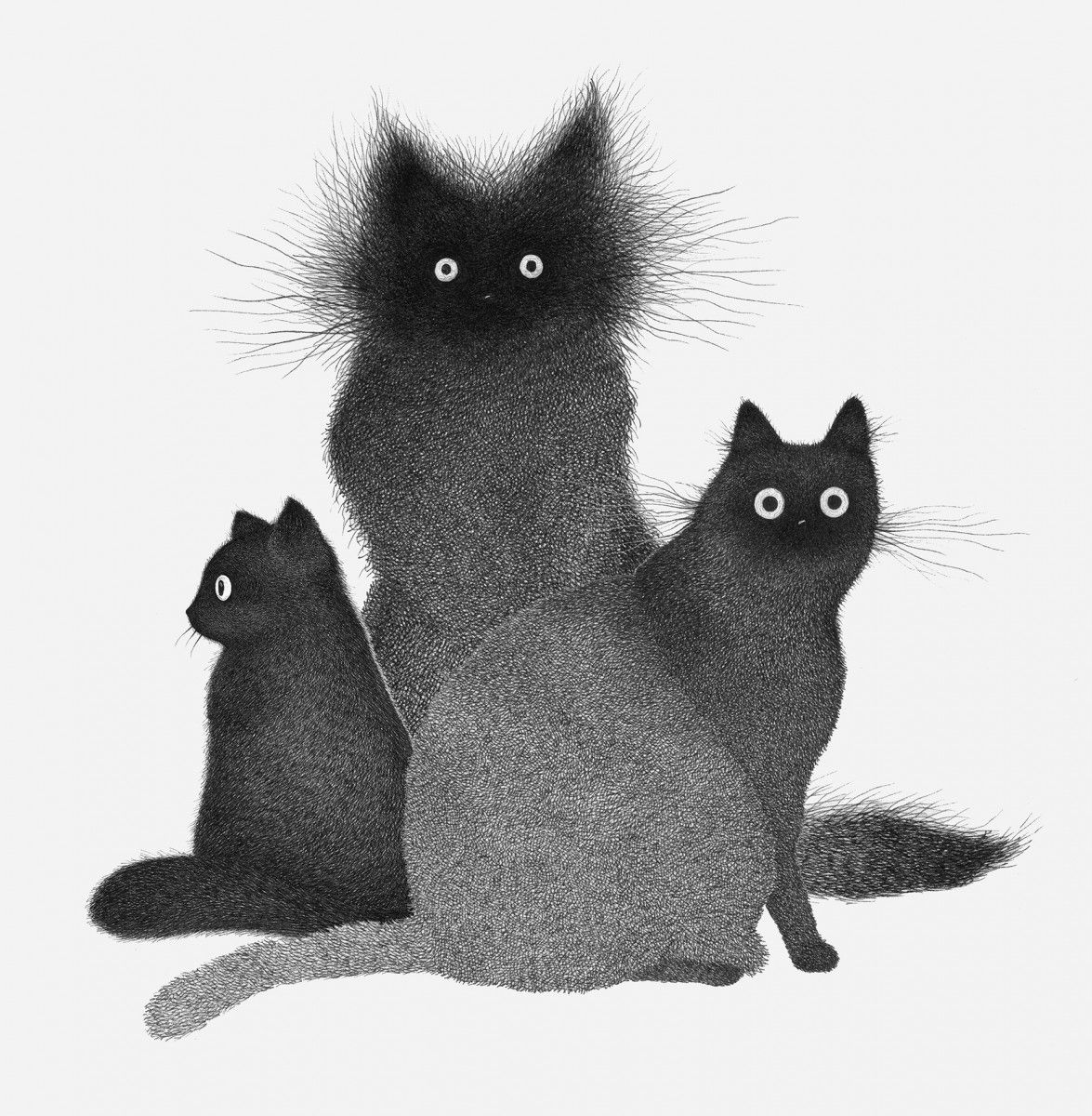 Frazzled Cats Formed From Hundreds Of Hatched Lines By