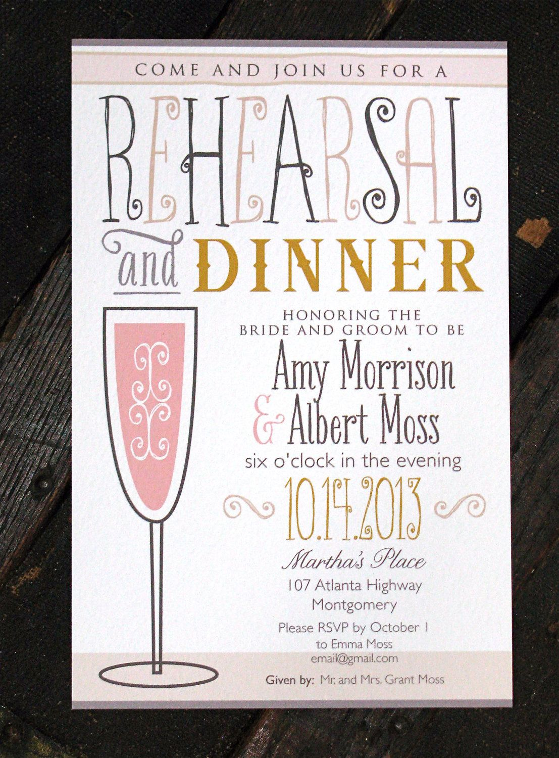 50 Rehearsal Dinner Invitations with champagne glass