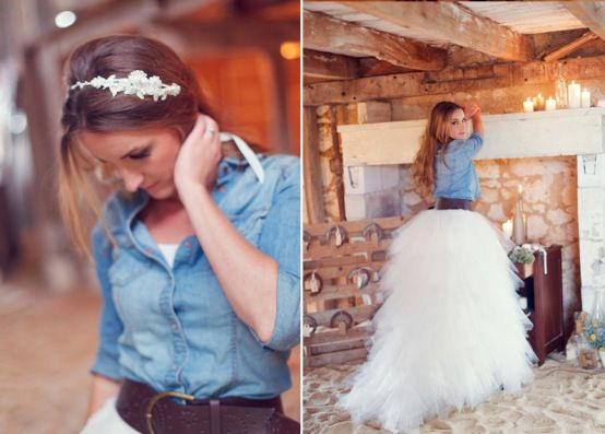 denim wedding dresses | Blue Jean Baby: Denim Jackets & Chambray Shirts with Wedding Dresses ...
