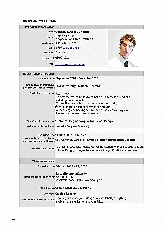 65 Elegant Image Of Cv Eu Format Template Download Cv Template Download Resume Resume Format Download