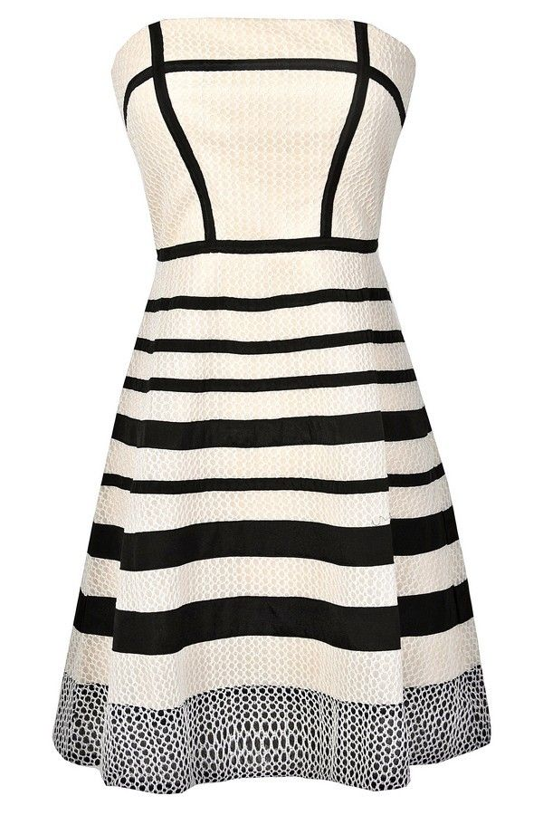Graphic Lines Ivory and Black A-Line Dress www.lilyboutique.com