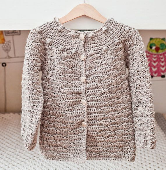 Crochet Cardigan PATTERN - Wavy Cardigan (sizes 6/12months,2/3,4/5,7 ...