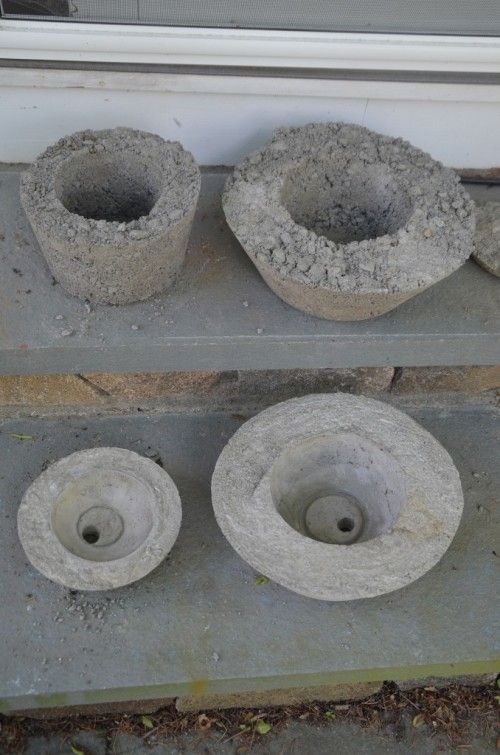 Rustic Chic DIY Concrete Planters   Shelterness