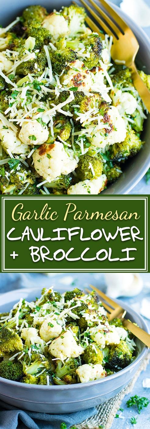 Garlic Parmesan Roasted Broccoli and Cauliflower