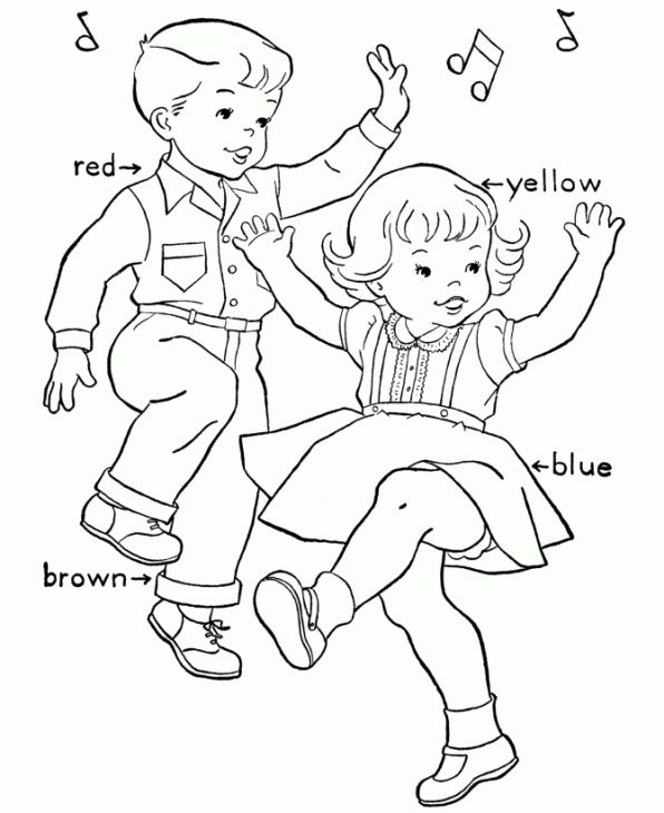 Children Boy And Girl Dancing Coloring Page Dance Coloring Pages