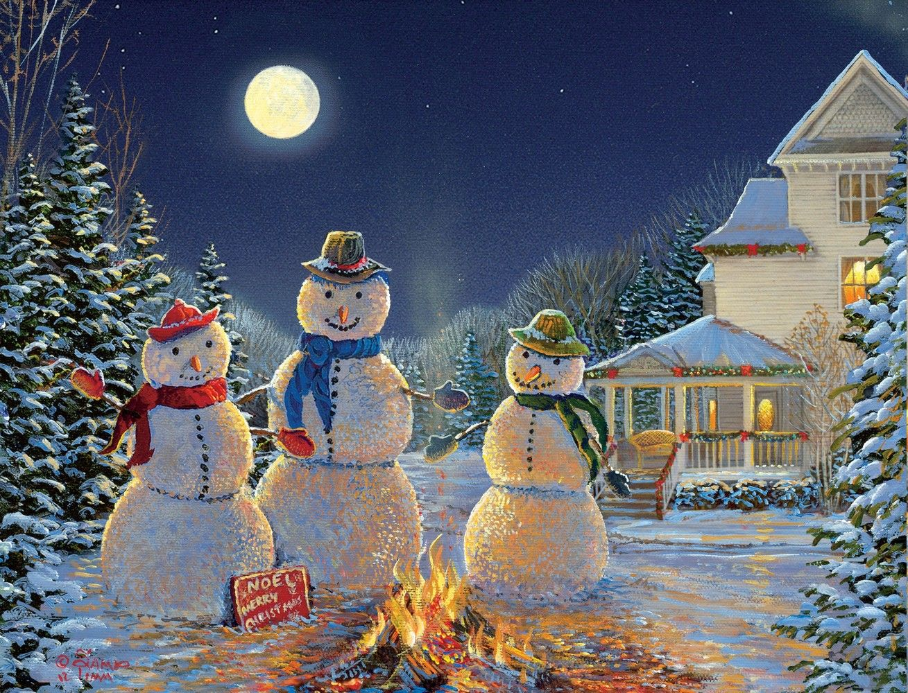 Sam Timm Moonlit Snowmen Boxed Christmas Card 1309x1000