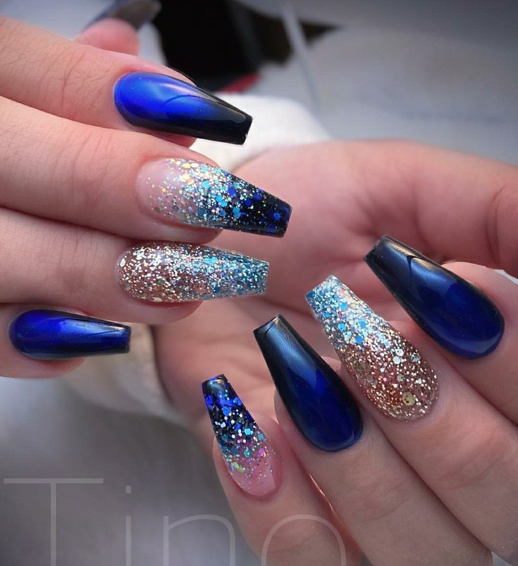 The blue on gold Blue coffin nails, Cute acrylic nails
