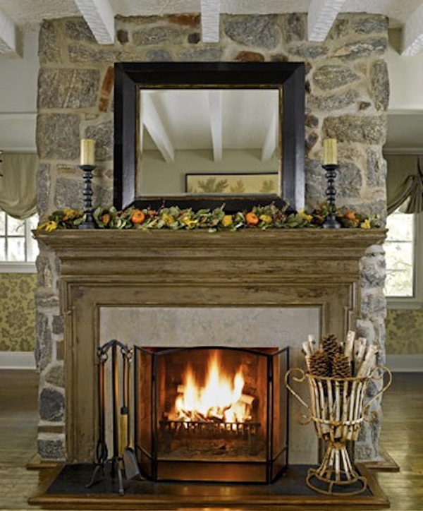 Mantel Decorating grey stone fireplace hearth decor feat wood mantel and black wood