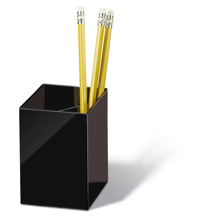 Pencil Cup Three Compartmentss 2 7 8 X2 7 8 X4 Black In 2020 Pencil Cup Pencil Organizer Pencil