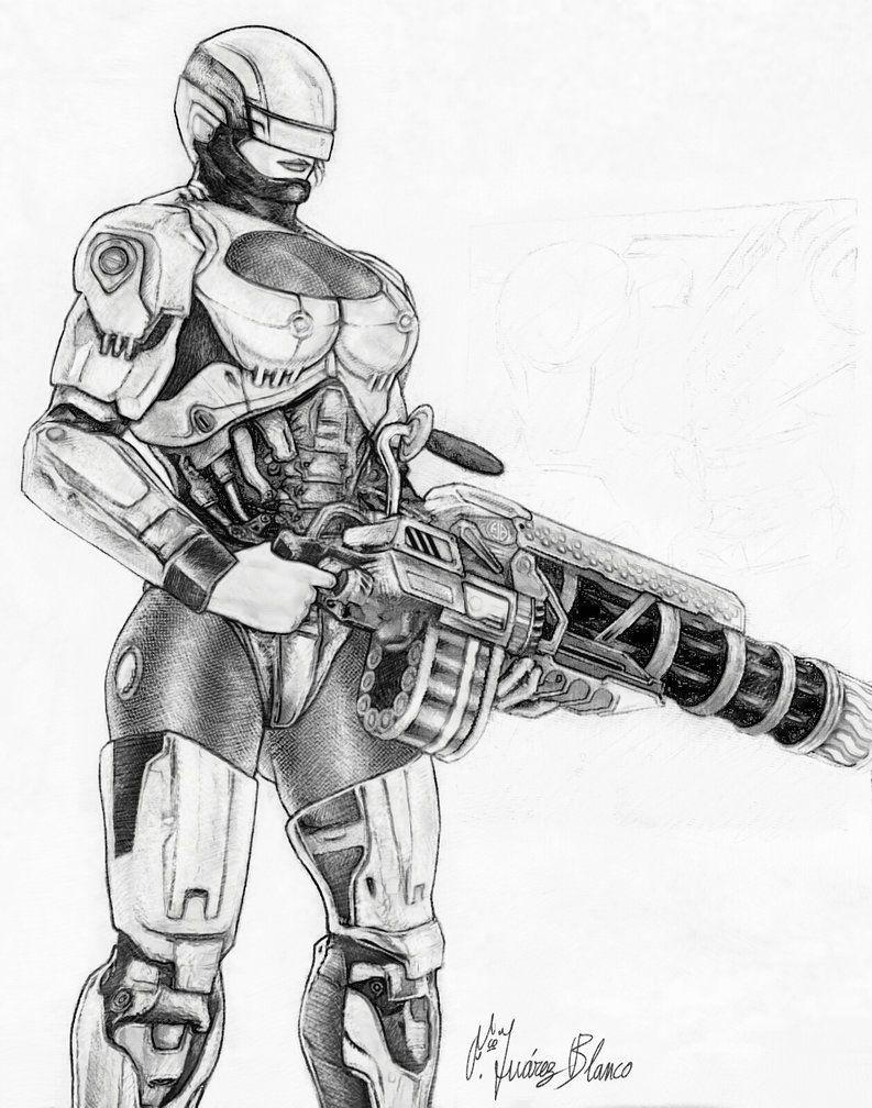 RoboCopwoman silver sketch Muestras de Trabajo de Paco Jurez