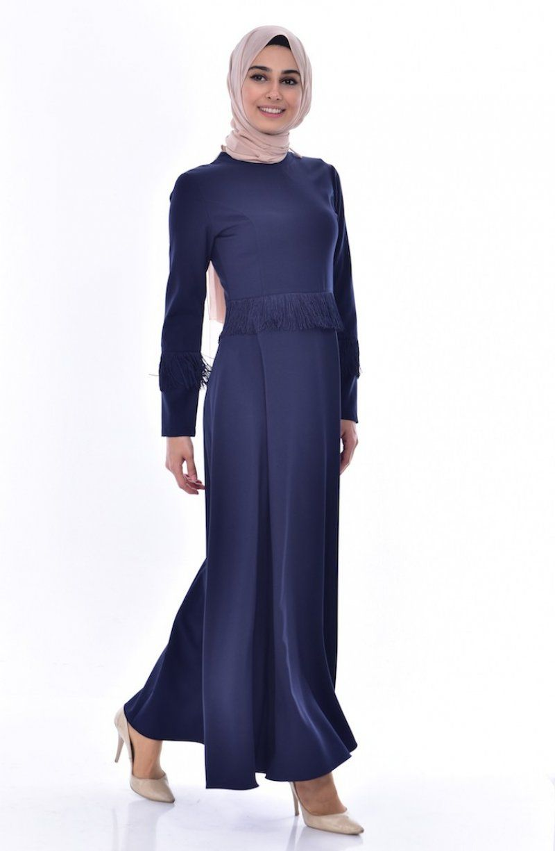 Sefamerve Tesettur Puskullu Lacivert Elbise Modelleri Elbise Modelleri Elbise The Dress