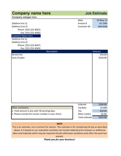 Simple Job Estimate With Tax  Estimate Template Word