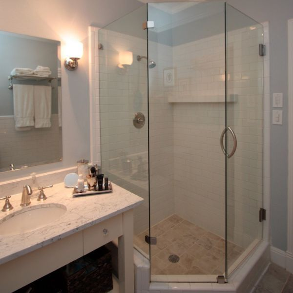 Cool Furniture Set For Small Bathrooms Bathroom Remodeling Ideas With Corner Angular Shaped Edge Shower Enclosure And Marble Top Vanity Unit