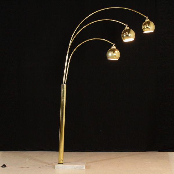 Lampada Da Terra Anni 70.Lampada Anni 70 Da Terra Metallo Ottonato Base In Marmo