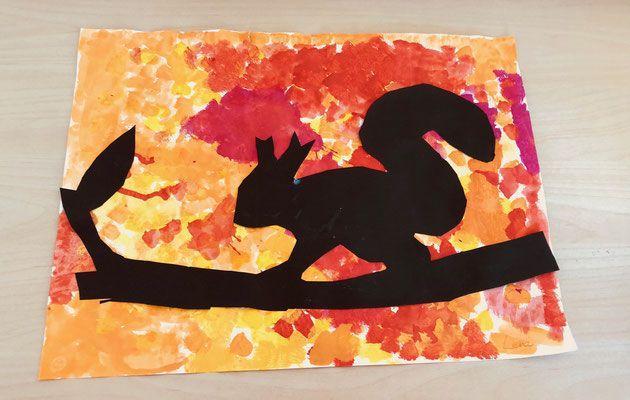 Ideen für den Kunstunterricht: Eichhörnchen im Herbst - Grundschule und Basteln - Der Blog von Beate Kurt #herbstbastelnmitkindern
