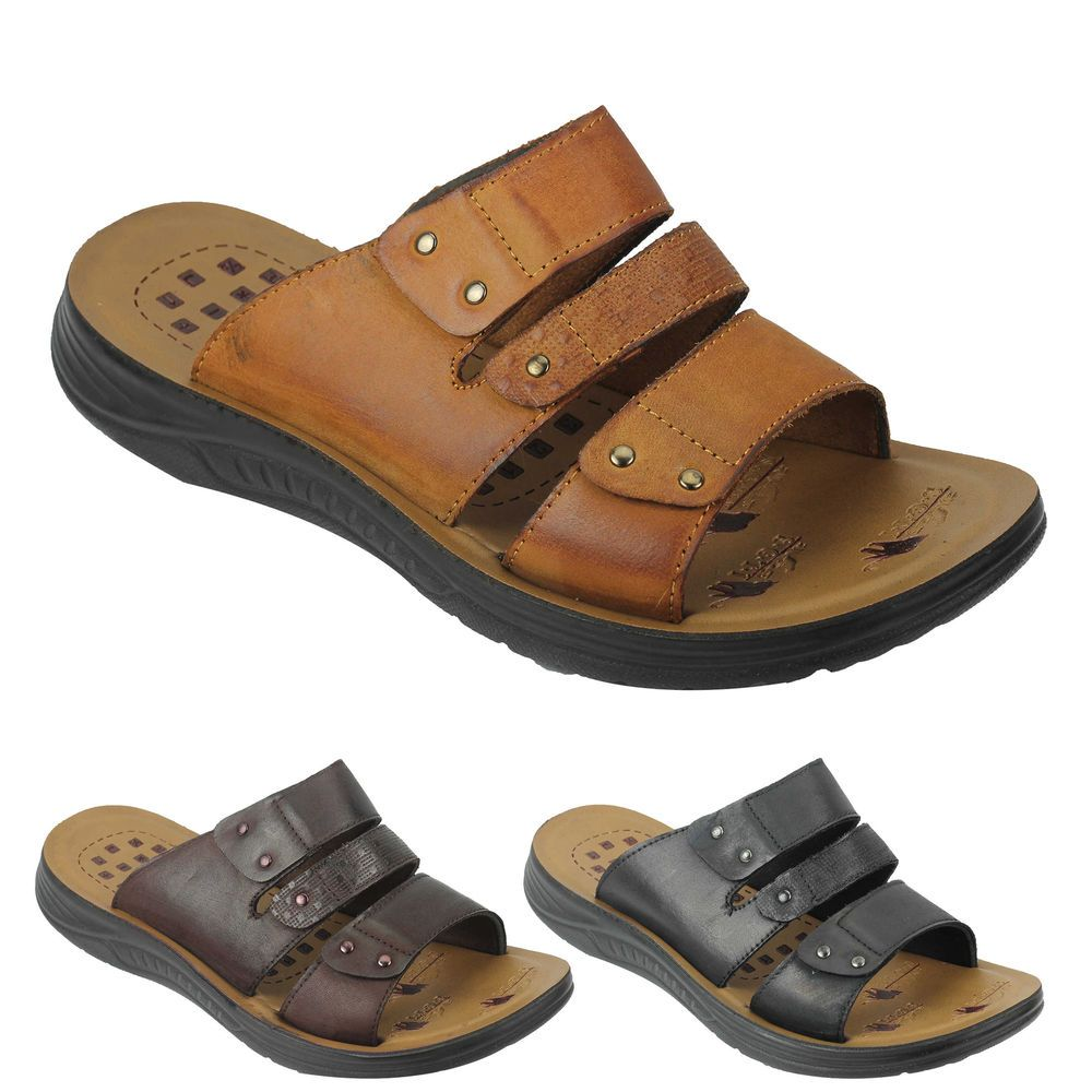 ccc78fdde343c7 Mens Leather Sandals Cross Straps Open Toe Beach Walking Slippers Black  Brown
