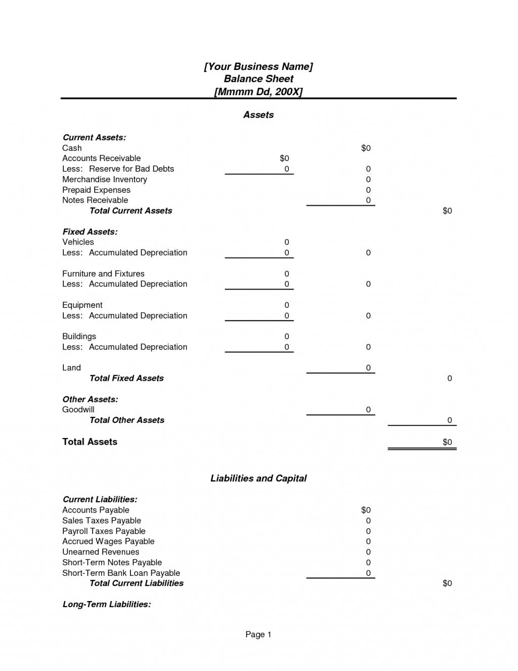 Assets And Liabilities Spreadsheet Template Balance Sheet Template Spreadsheet Template Balance Sheet