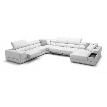 bergamo white sectional extended leather sofa