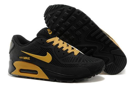 Discount Authentic Mens Nike Air Max 90 Black/Gold Logo
