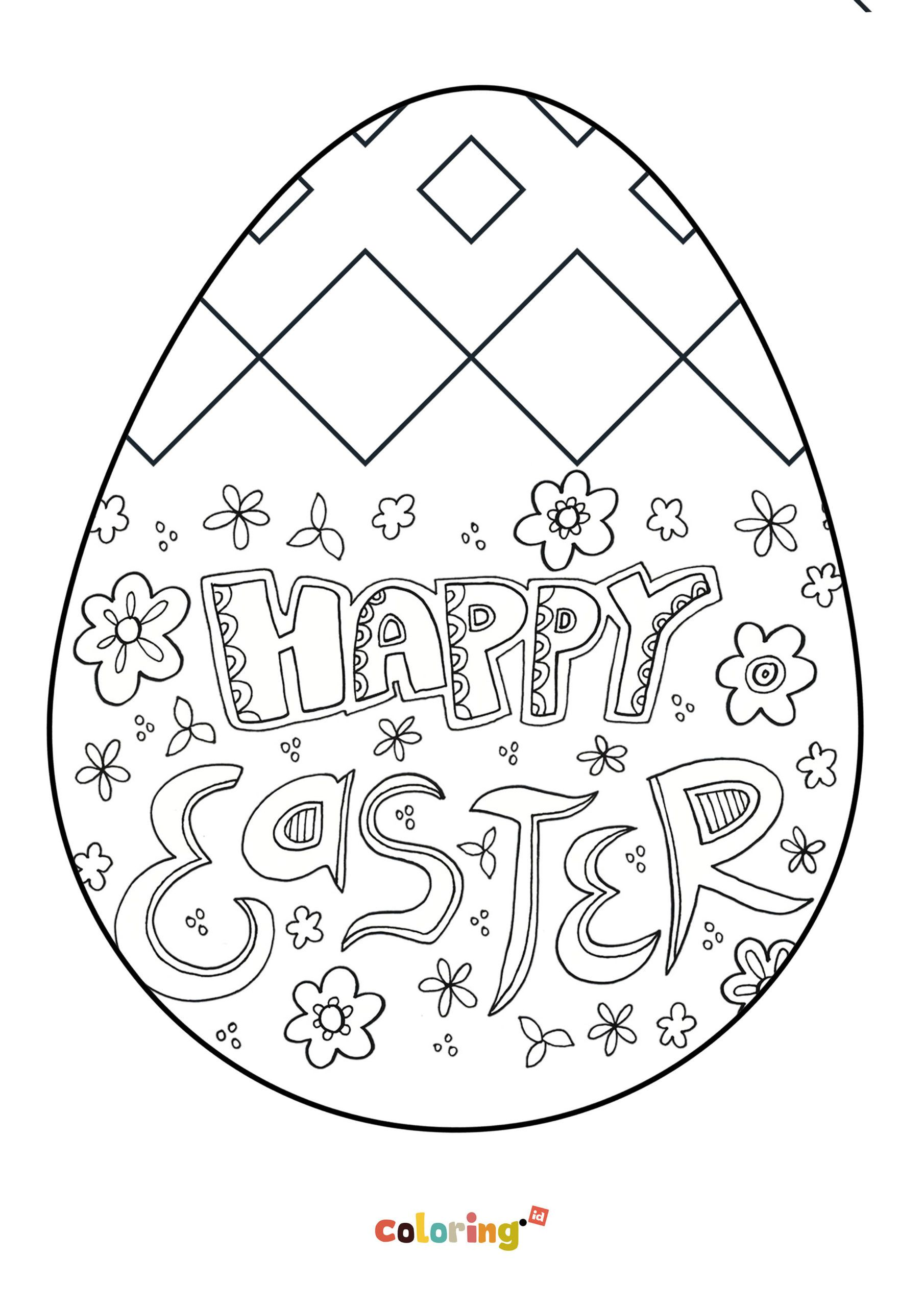 Happy Easter Egg Coloring Page