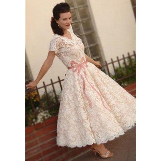 A-Line V-Neckline Ivory Lace 1950\'s Vintage Wedding Dress ...