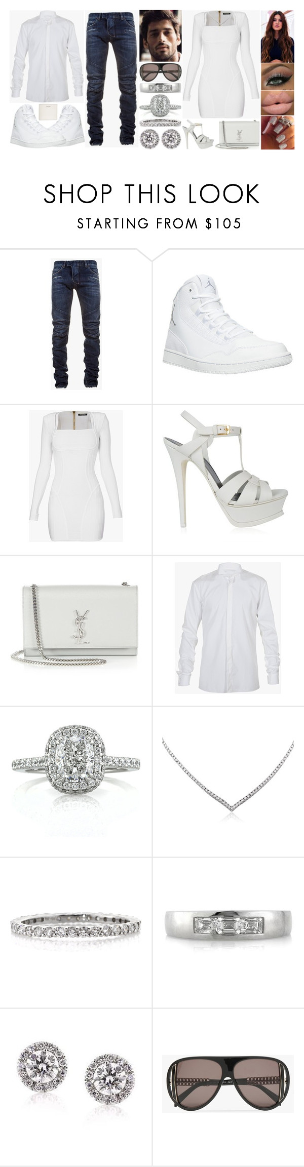"""""""Mr. & Mrs. - Balmain"""" by jessicagrewal ❤ liked on Polyvore featuring Balmain, NIKE, Yves Saint Laurent and Mark Broumand"""