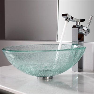 Kraus C Gv 500 12mm 14300ch Broken Glass Vessel Exquisite Faucet Bathroom Sink Modern Bathroom Accessories Vessel Sink Bathroom Bathroom Sink Bowls