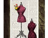 Upcycled book Victorian dress form  collage Vintage Book Print Dictionary Page Print-Dress form collage Print on Vintage Dictionary Book art