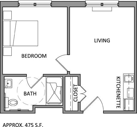 Beau One Bedroom Apartment Floor Plan