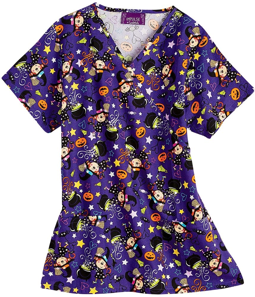 scrubs bonita scrubs 100 cotton bewitched mock wrap scrub top halloween nursing srubs - Halloween Scrubs Uniforms