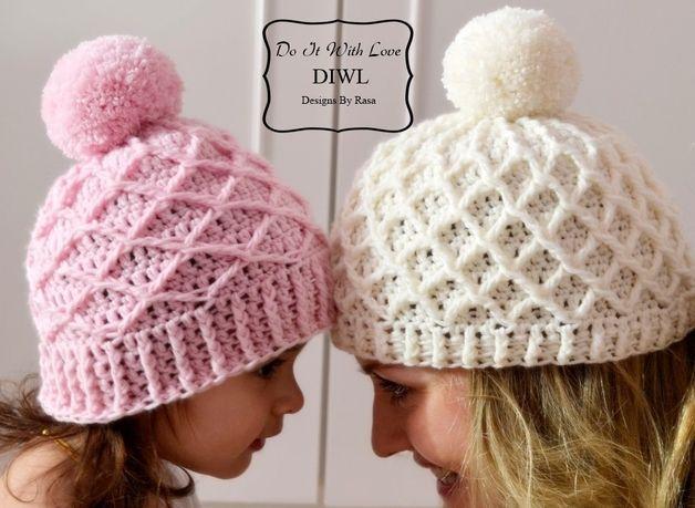 ❤ Die Mutter-Tochter-Mütze Diamond ist handgearbeitet, für den höchsten Komfort sowie viel Wärme designed und in Perfektion getestet.  Mit diesen Mützen oder Boshi machen Sie ein wunderschönes...