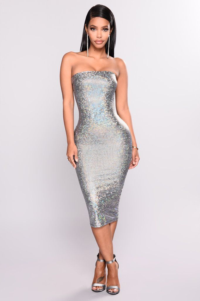 23704579842 A Shimmer Frenzy Dress - Silver
