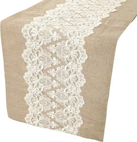 The HomeCentric Handmade, Designer, Decorative Table Runners   Natural  Beige, Ivory   14 X 36 Inch   Cotton   Linen U0026 Lace Table Runner, Lace  Embroidered On ...