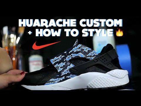 huge discount e91f5 d2b9d DIY Nike Huarache Custom   How To Paint Tiger Camo Tutorial + Lookbook  Style How To Wear - YouTube