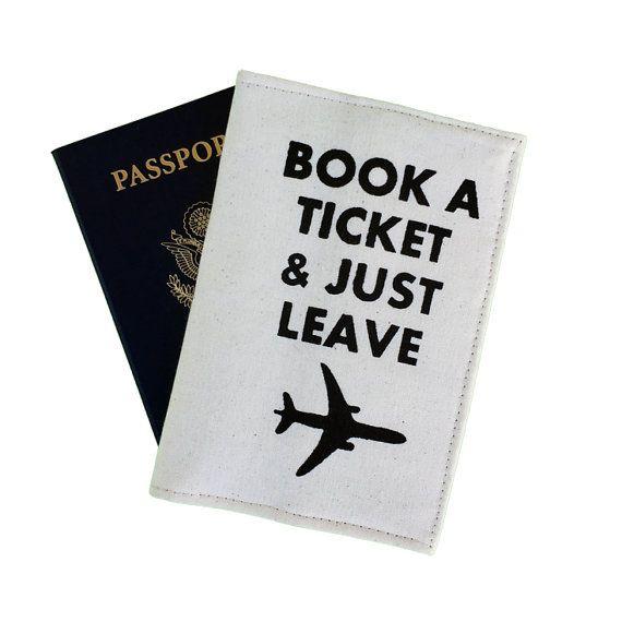 Travel quote, passport case, plane motif, screen print, black text