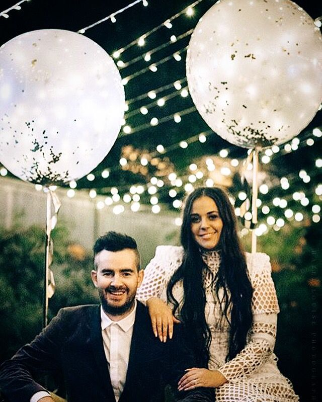 Engagement party photography lights balloons asilio White boho diy backyard More