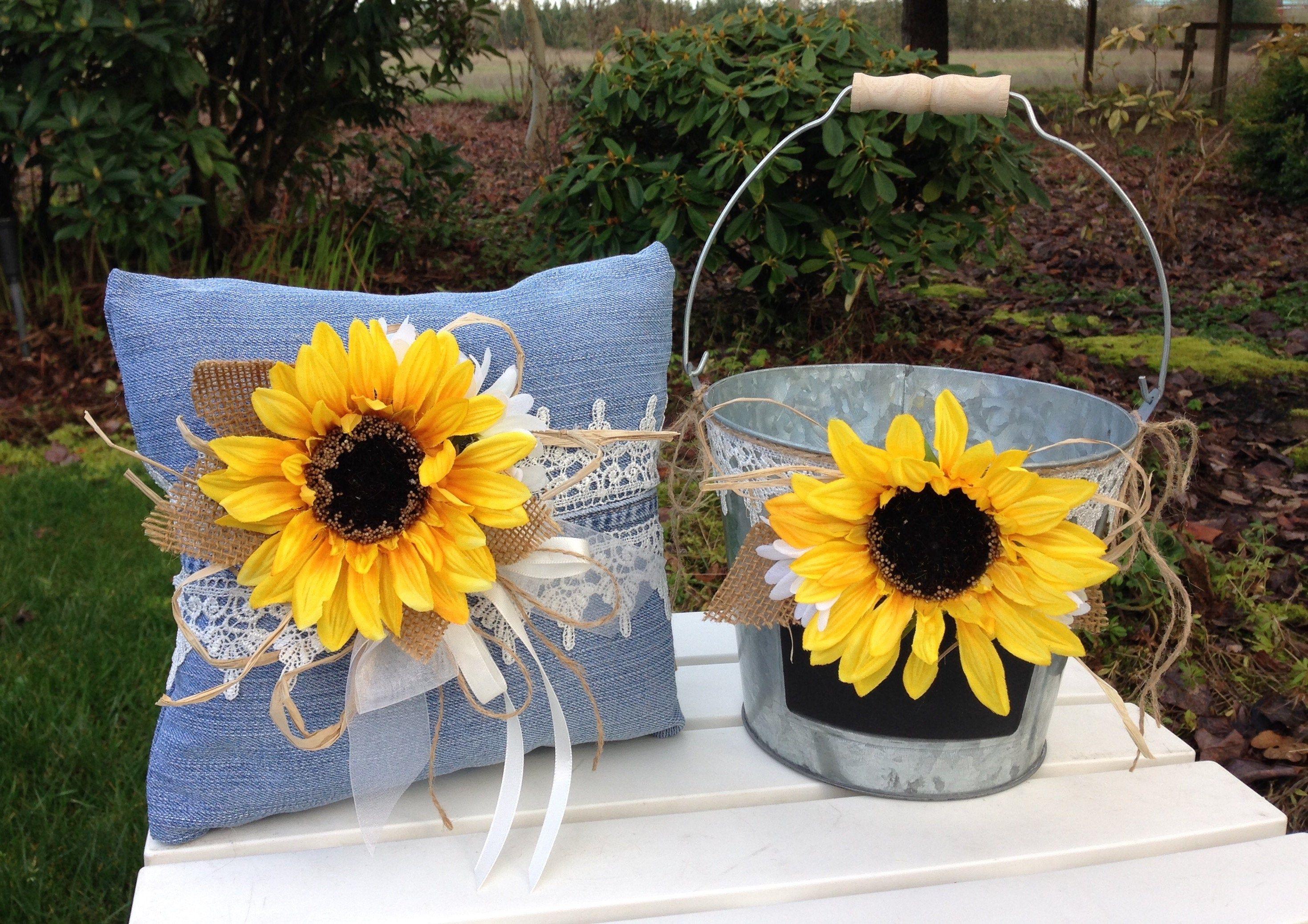 Sunflower Wedding Flower Girl Basket and Ring Bearer