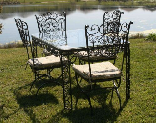 Vintage Woodard Wrought Iron Patio Dining Set Andalusian Pattern
