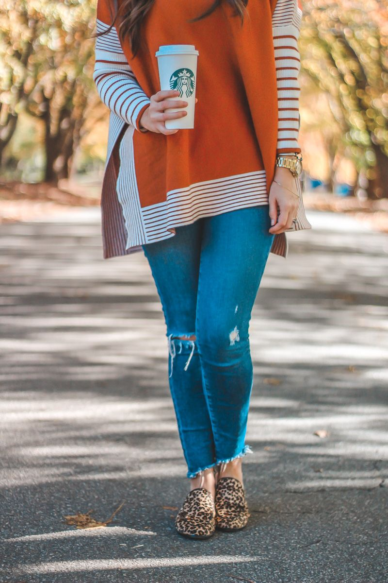 This under $50 Striped Cape Sweater is giving me all the Fall feels! So cozy! PLUS check out the blogpost to see my favorite Fall Starbucks drink!  Sweater Weather | Fall Sweater | Fall Trends | Fall Looks | Fall Style | Starbucks | Starbucks Secret Menu | Leopard Shoes | Casual Looks | Fall Outfits | Outfits Under 50 | Affordable Fashion #leopardshoesoutfit