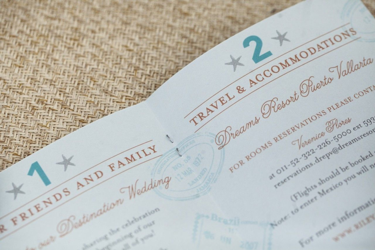 Vintage Tropical Crest White Ink Passport Wedding Invitation (Puerto ...