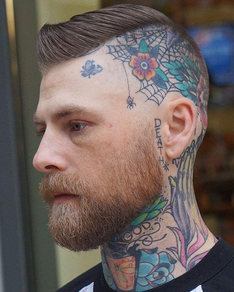 men skin fade haircuts with head tattoo Head tattoos
