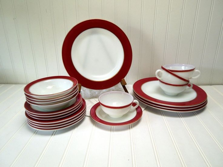 RESERVED for Alexis --Vintage Pyrex China Royal Burgundy Dinnerware Set Ruby Red Gold Milk Glass Dinner Set for Four & vintage dinnerware sets | Vintage Pyrex China Royal Burgundy ...