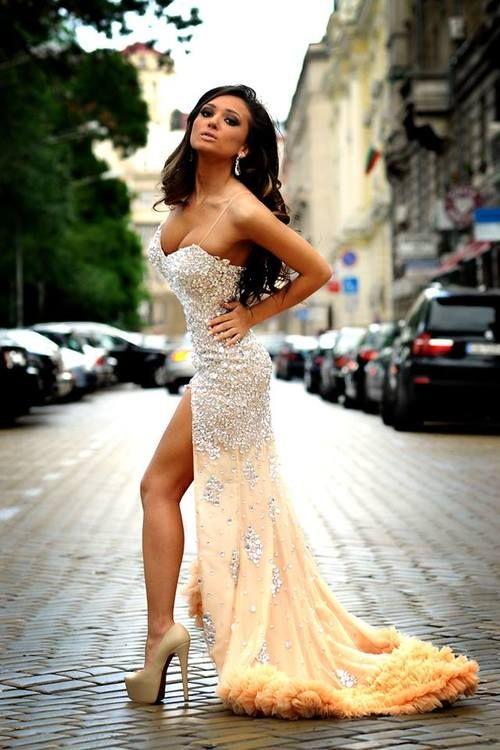 Custom Made Vestidos De Fiesta Sexy Sweetheart Spaghetti Strap Luxury  Crystal Beaded Mermaid Chiffon Long Prom 445bb93186b6