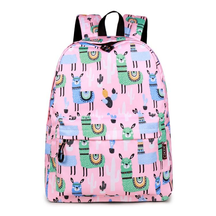 CIKER Waterproof Women Backpack Cute Bookbag Pink Alpaca Animal Knapsack Printing  School Bagpack Bag for Teenage Girls Mochilas  Alpaca  backpack  girls ... 6fa8ae49833fc