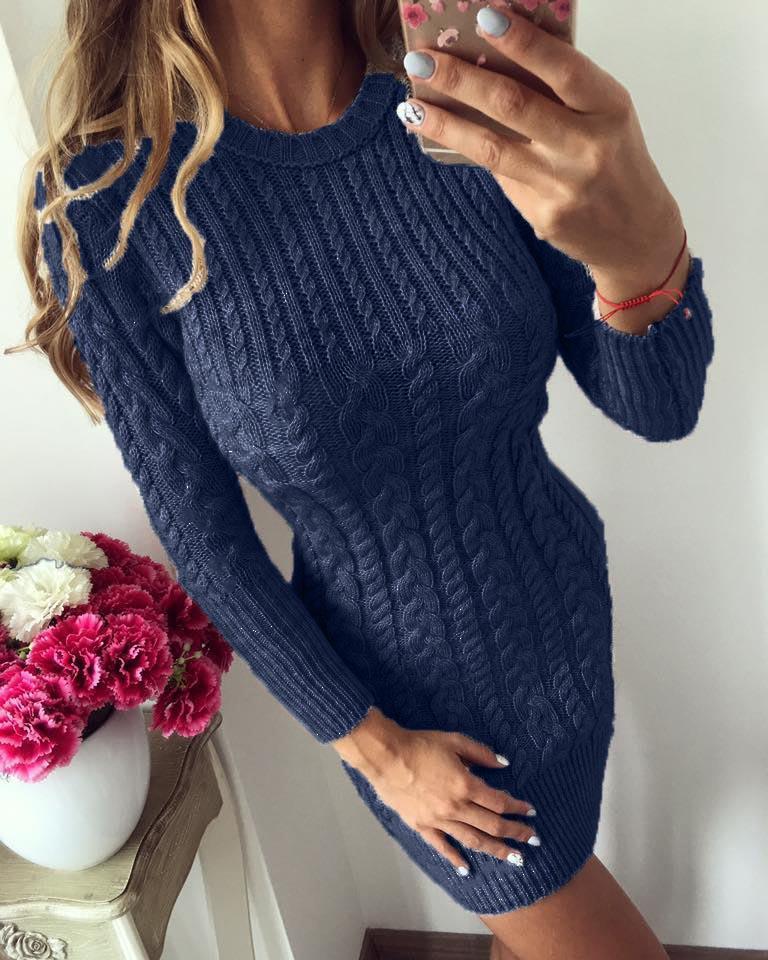 e53b9129ca5 FJUN Warm Sweater Dress Women 2018 New Autumn Winter Sexy Slim Tight Dress  Female O neck Long Sleeve Knitted Dress Vestidos