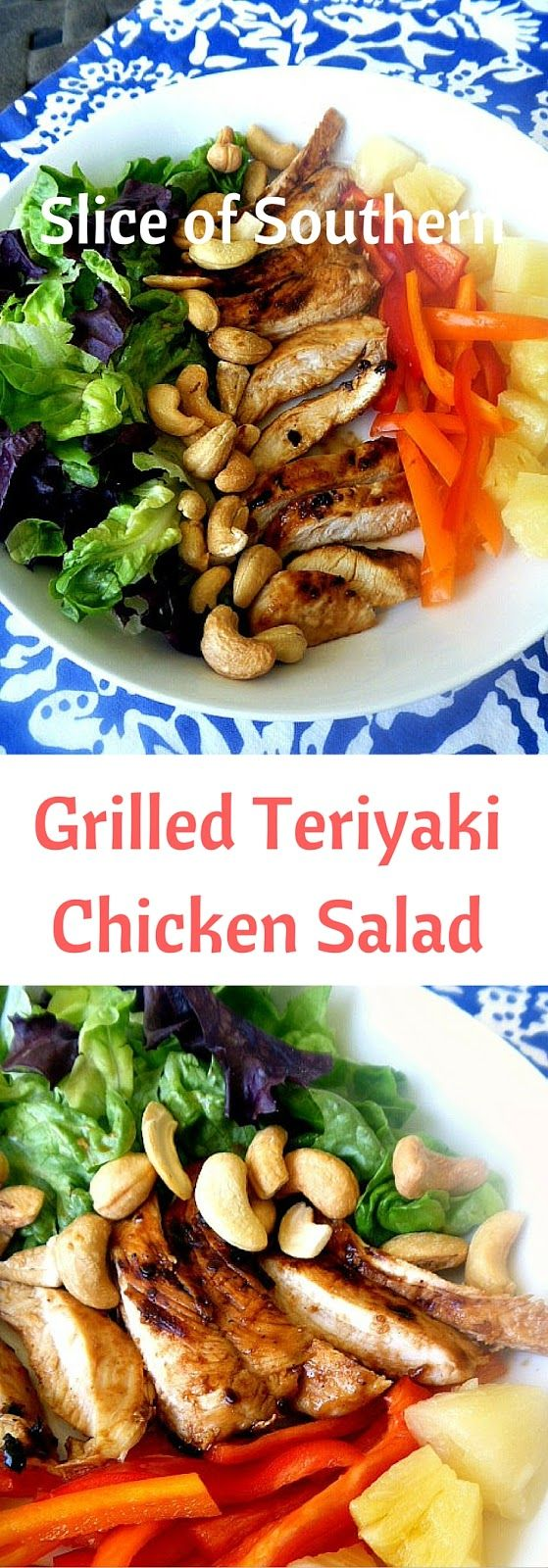 Click for recipe at Slice of Southern.   Grilled Teriyaki Chicken Salad is your perfect lunch or dinner and the taste is outstanding!!
