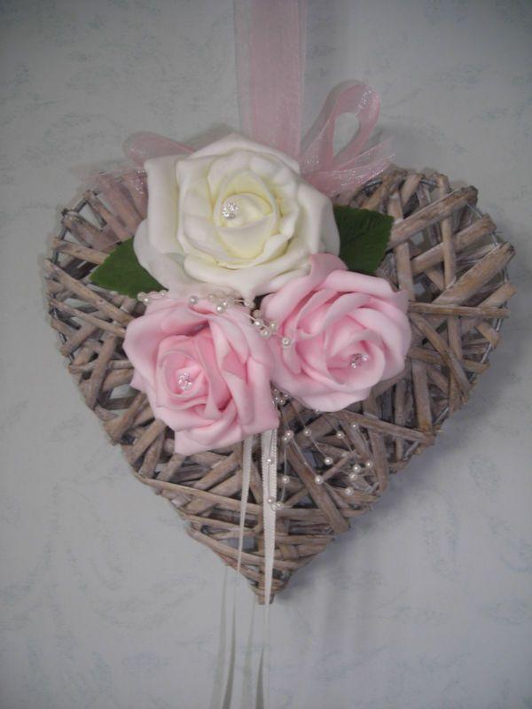 Wicker Heart Rose Wedding Flower Bouquet Posy Bridesmaids
