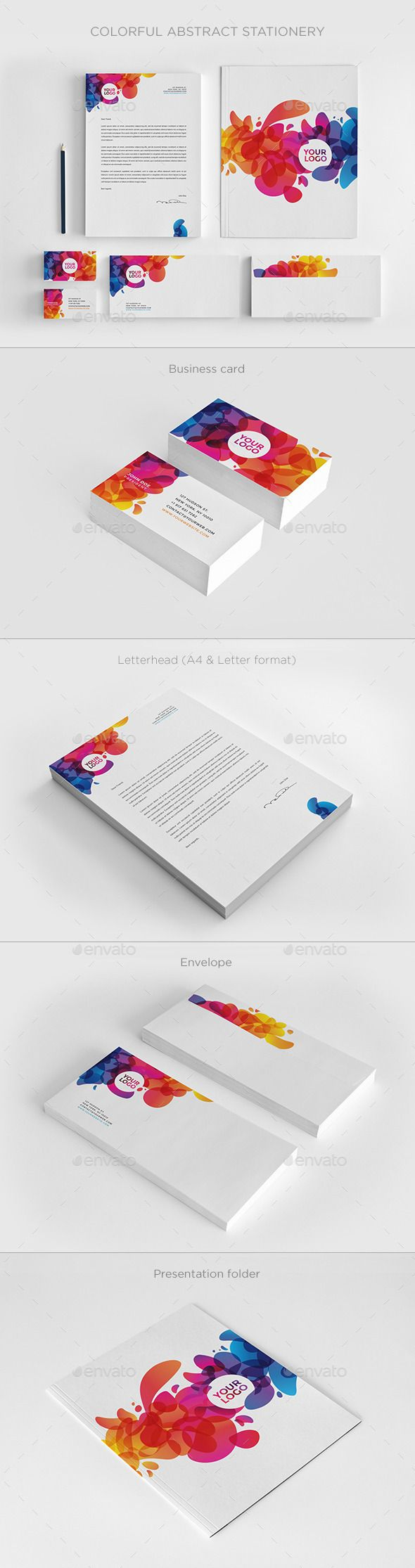 Colorful Abstract Stationery  Stationery Printing Print
