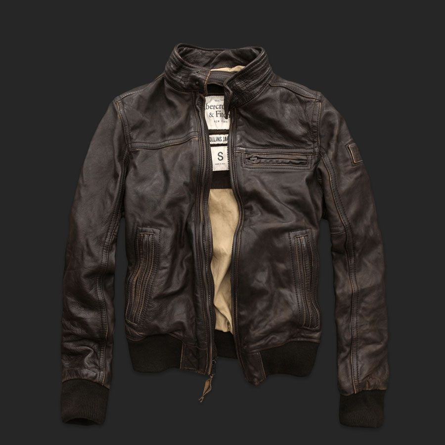Abercrombie Fitch Rollins Cafe Racer Motorcycle Leather