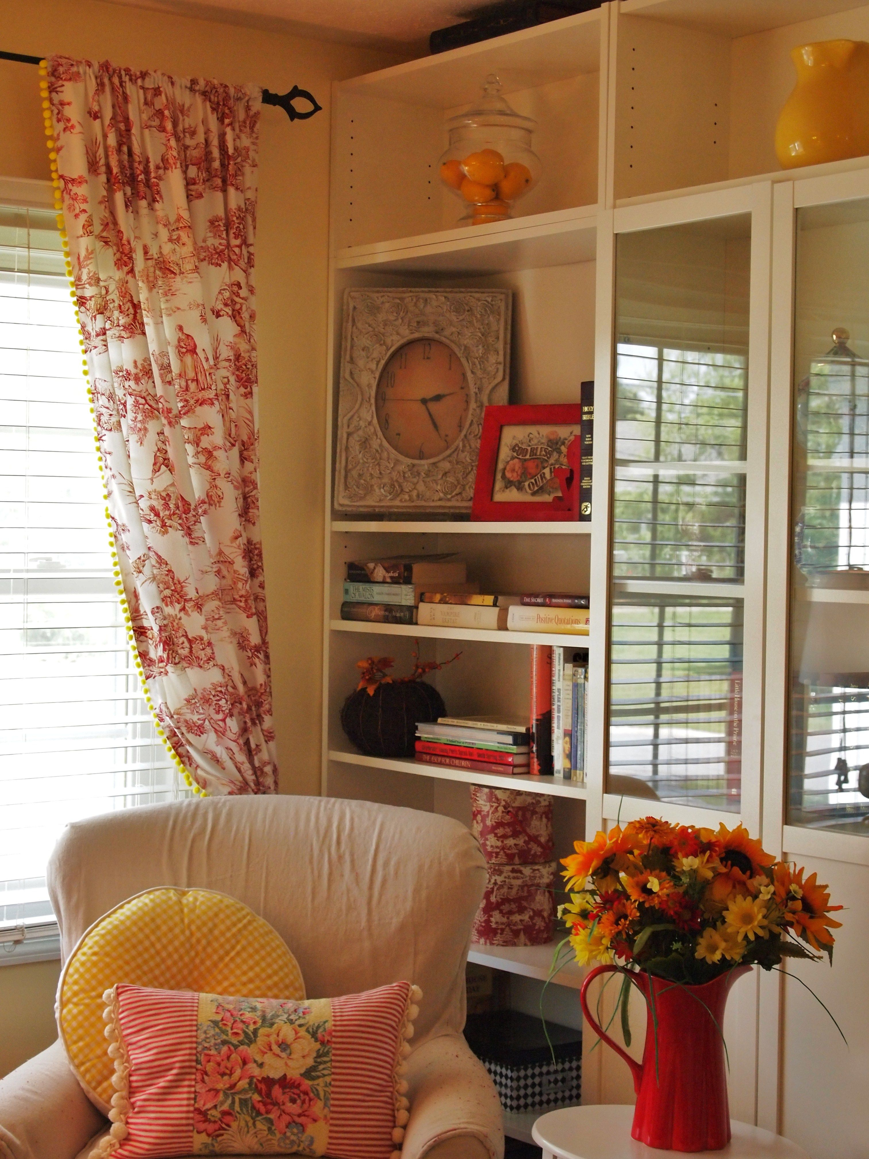 Red Toile Curtains with Yellow Pom Pom Fringe! | Toile ...